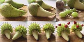 поделка ежик из фруктов