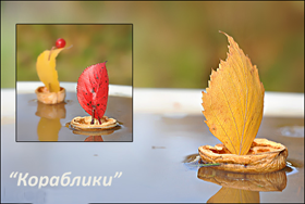 кораблик из скорлупы грецких орехов