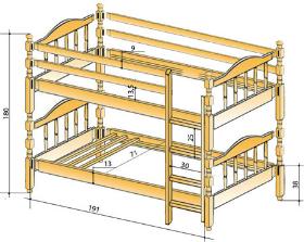 Чертеж двухъярусной кровать с кроватью внизу